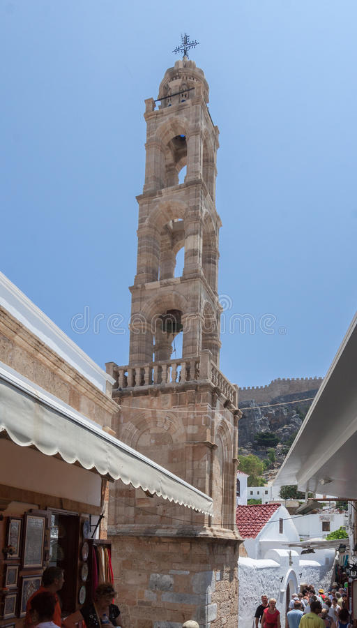 Church Bell Tower Lindos Rhodes Greece. The church bell tower in Lindos, Rhodes Island, Greece royalty free stock photo