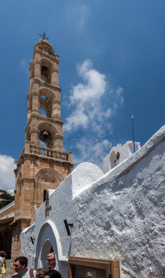 Church Bell Tower Lindos Rhodes Greece. The church bell tower in Lindos, Rhodes Island, Greece royalty free stock images