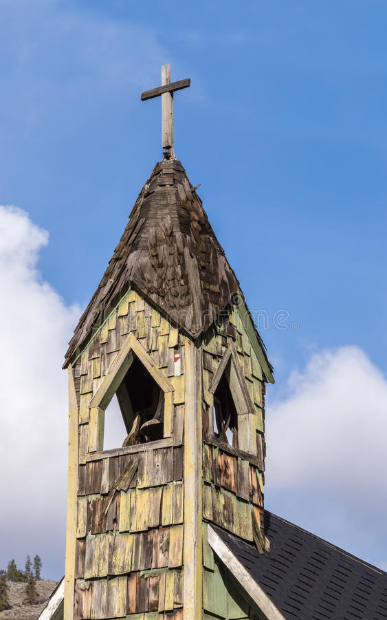 Church Bell Tower of Old Chapel in Rural British Columbia. Church bell tower of an old chapel in the town of Spences Bridge in the interior of the British stock image