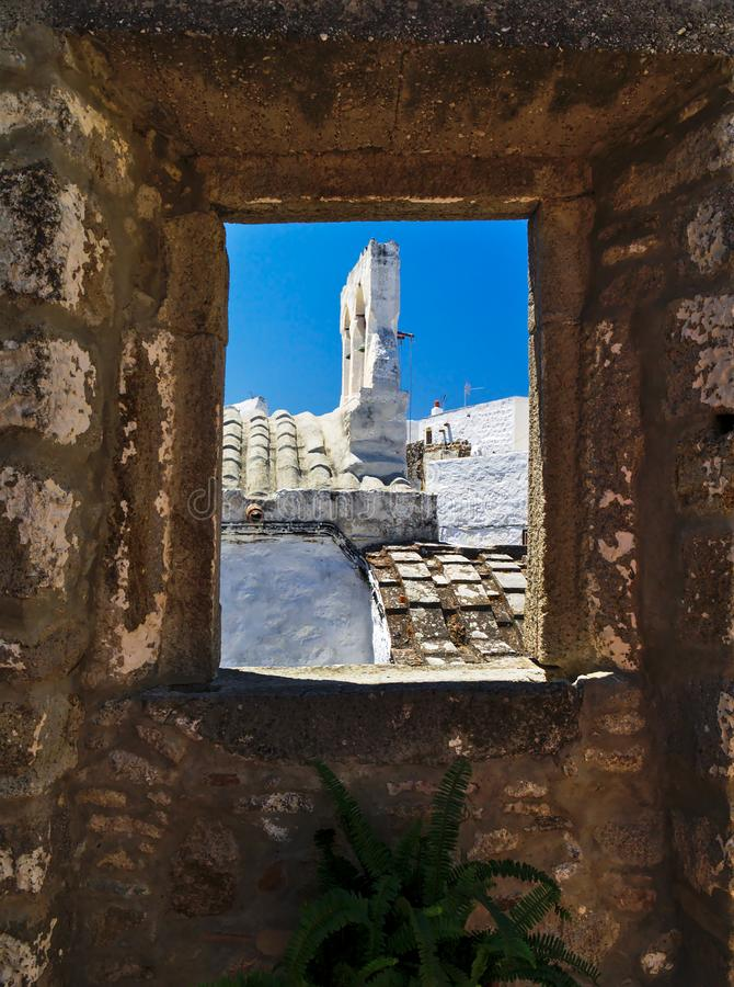 Church bell tower framed by window. royalty free stock photos