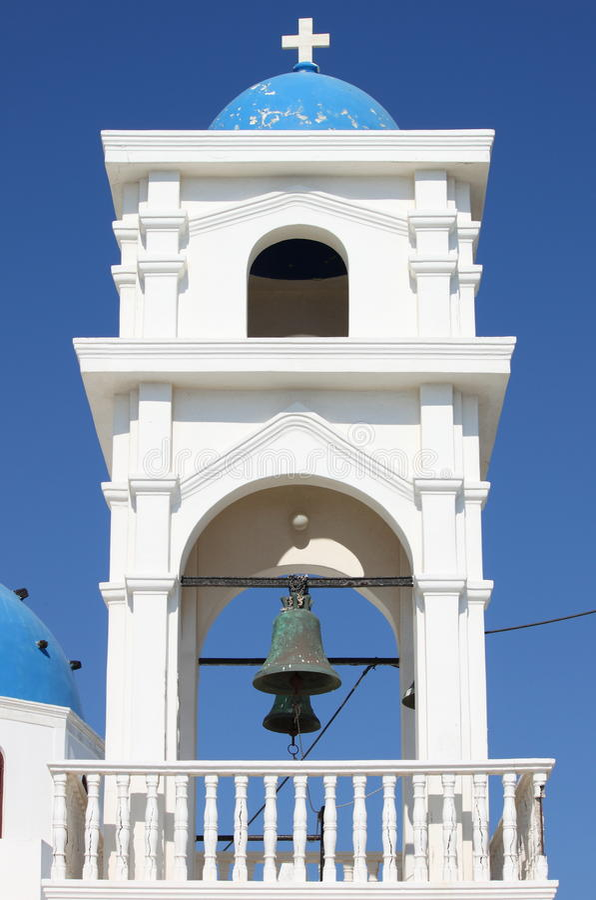 Church bell tower in Santorini royalty free stock photos