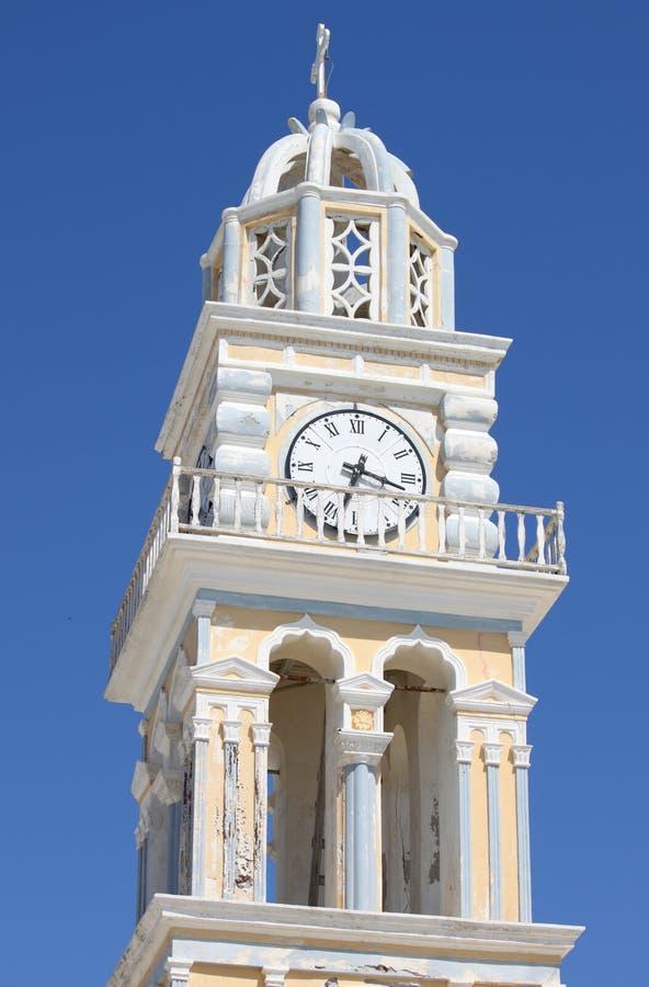 Church bell tower in Santorini stock photos