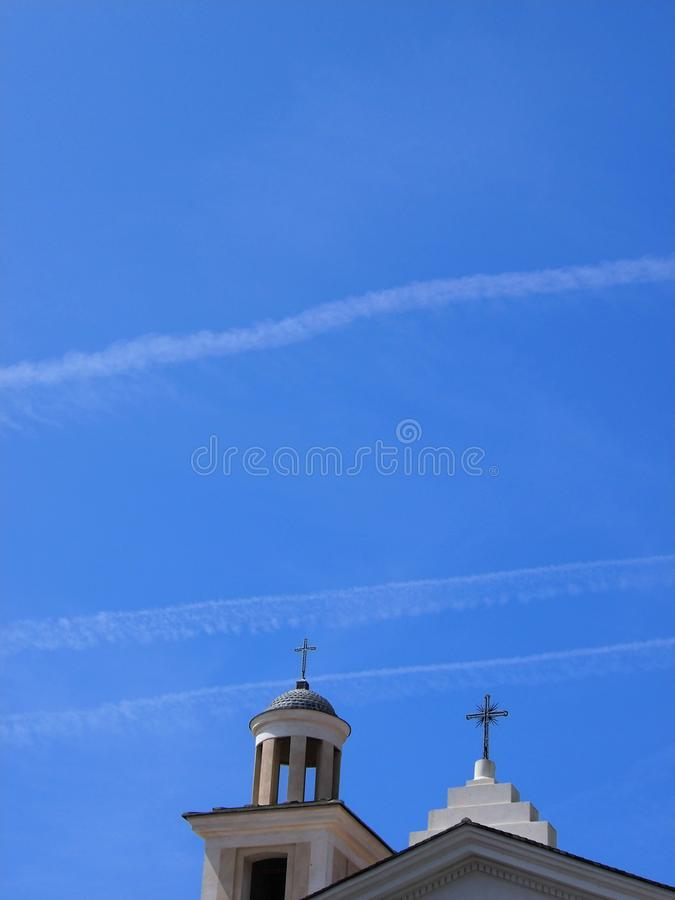 Church and bell tower in summer stock photography