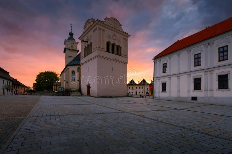 Spisska Sobota, Slovakia. Church, bell tower and town hall in the main square of Spisska Sobota in Poprad royalty free stock photo