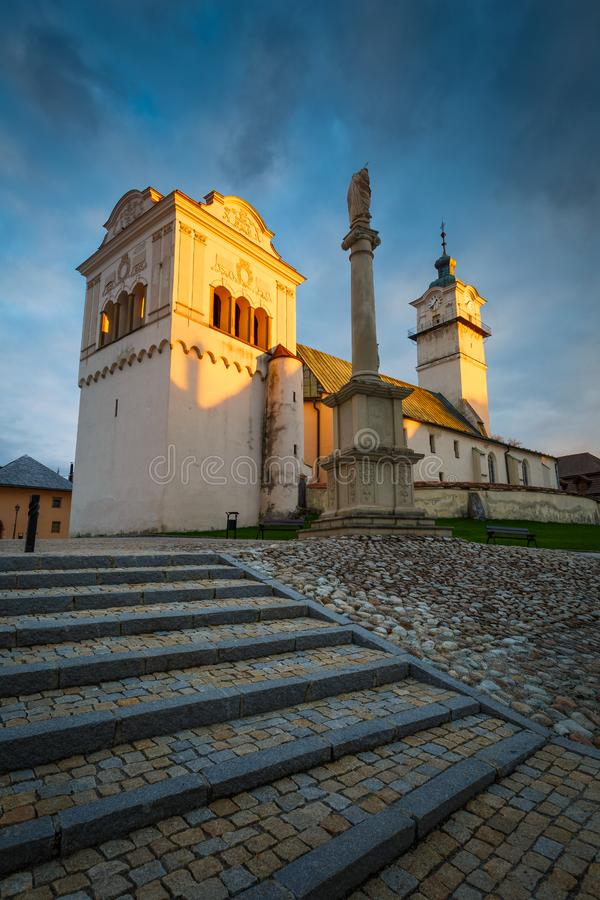 Spisska Sobota, Slovakia. Church, bell tower and town hall in the main square of Spisska Sobota in Poprad royalty free stock photography