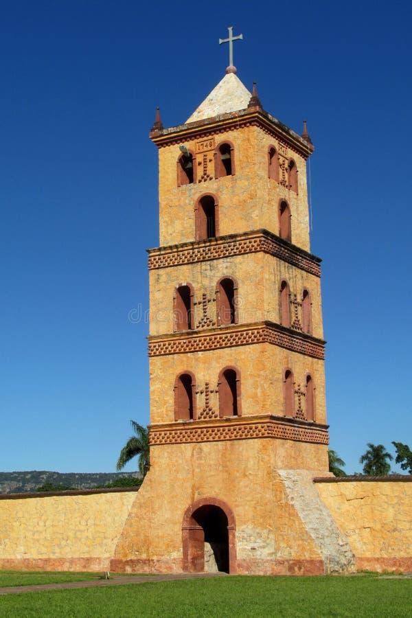 Church bellfry in Puerto Quijarro, Santa Cruz, Bolivia. Bellfry of christian church in Puerto Quijarro, Santa Cruz, Bolivia. Jesuit Missions of Chiquitos stock photography