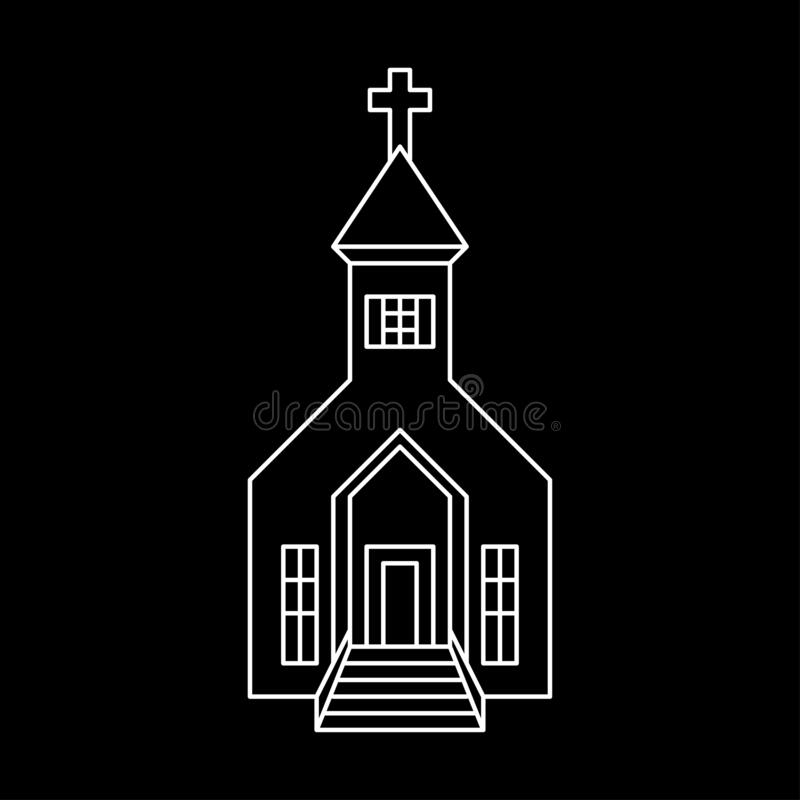 Church black isolated outline vector. stock images