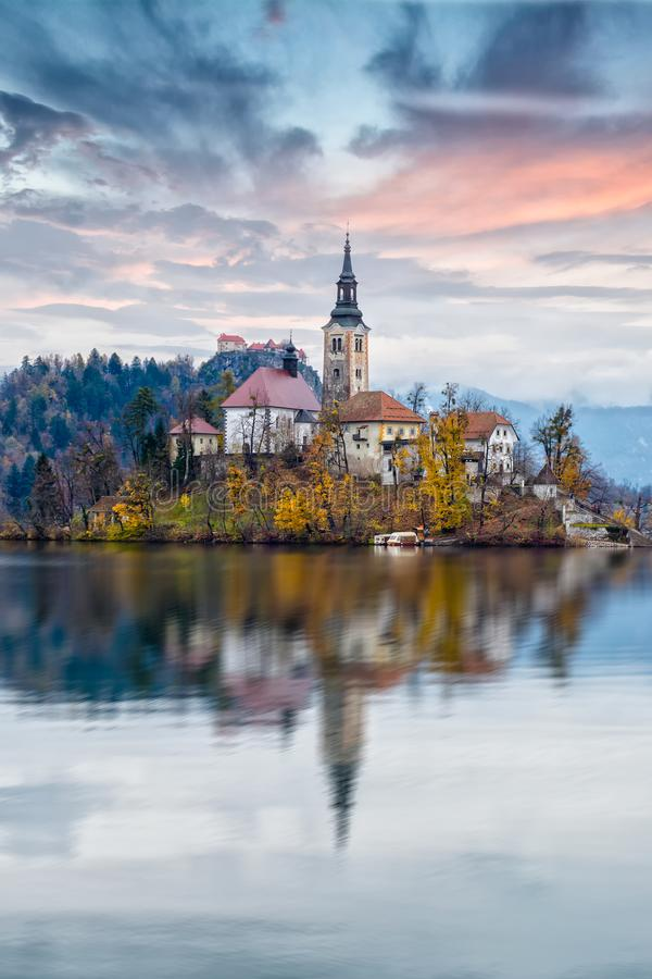 Church on Bled lake stock photo