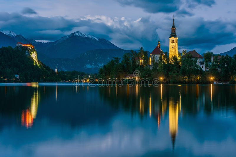 Church of Bled by night stock photos