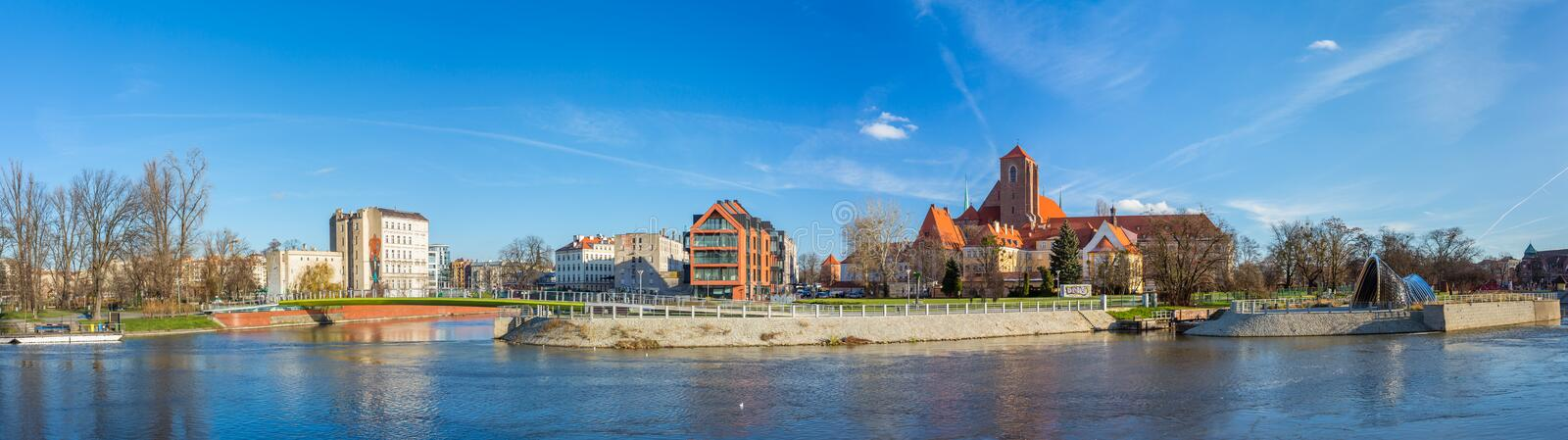 Church of the Blessed Virgin on the Piasek island in Wroclaw, Silesia, Poland. Panorama shot stock photos