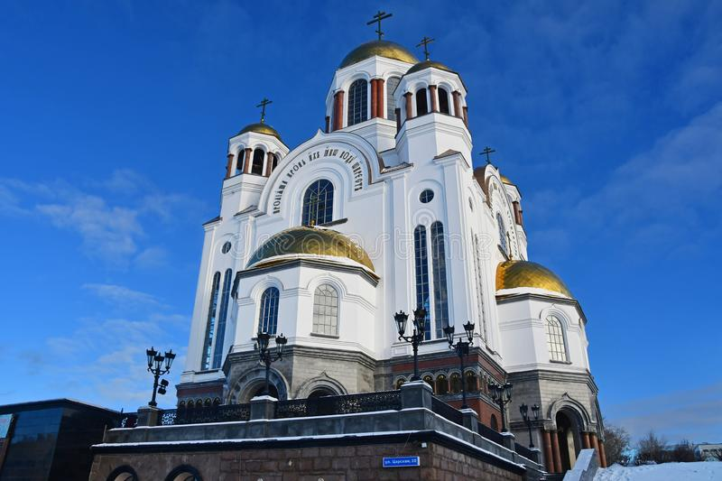 Church on Blood in Honour of All Saints Resplendent in the Russian Land — place of execution of Emperor Nicholas II. And his family. Yekaterinburg stock photography