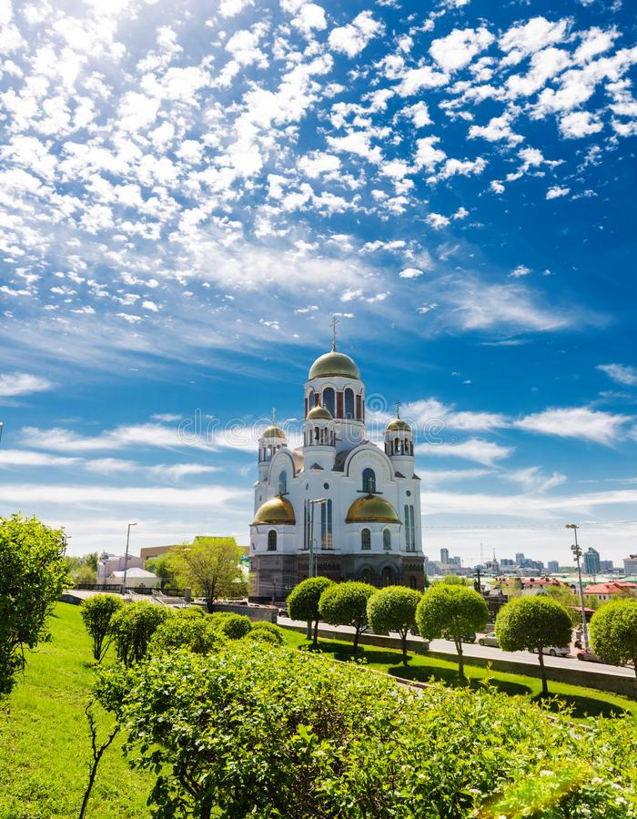 Church on Blood in Honour in Ekaterinburg. Church on Blood in Honour of All Saints Resplendent in the Russian Land in Ekaterinburg royalty free stock image