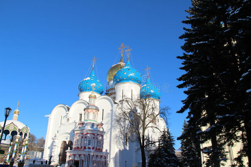 The Church with blue domes royalty free stock photo