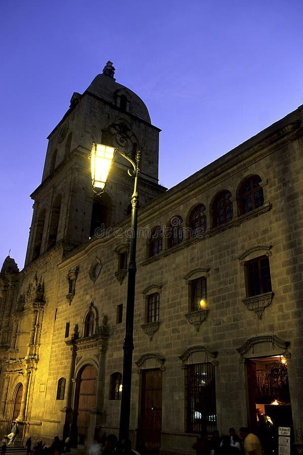 Church- Bolivia. La Iglesia de San Franccisco and lampost illuminated at dusk in the capital Andean city of La Paz- Bolivia stock photo