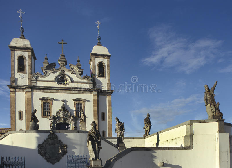 The church of Bom Jesus do Matozinhos in Congonhas, state of Min. As Gerais, Brazil. A masterpiece of the Minas Baroque architecture, it is surrounded by soap royalty free stock photography