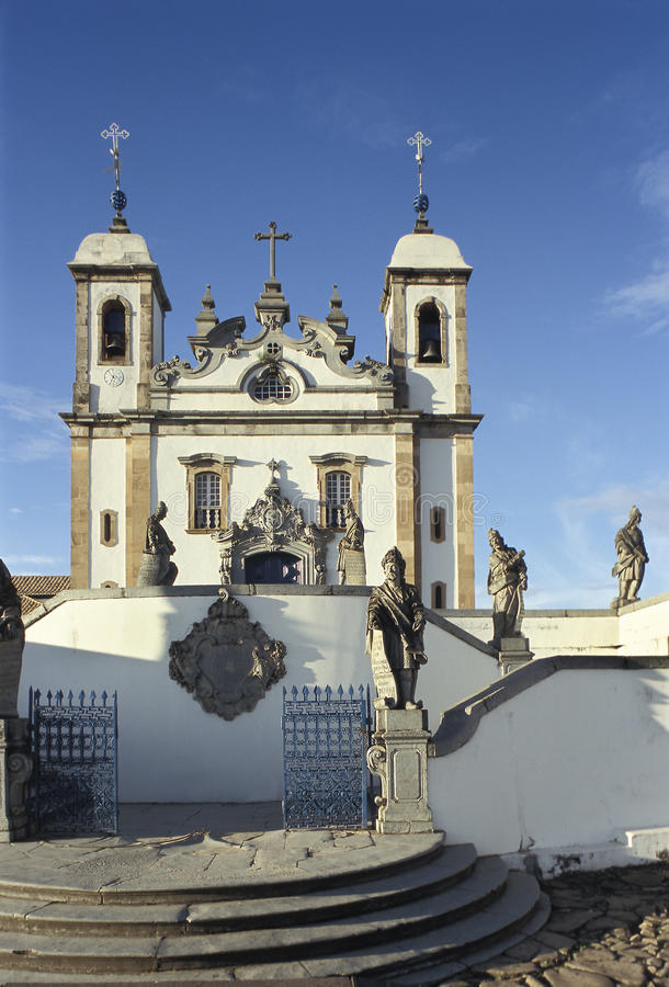 The church of Bom Jesus do Matozinhos in Congonhas, state of Min. As Gerais, Brazil. A masterpiece of the Minas Baroque architecture, it is surrounded by soap royalty free stock image