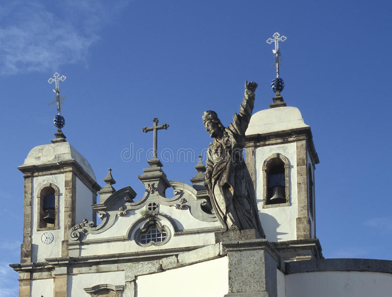 The church of Bom Jesus do Matozinhos in Congonhas, state of Min. As Gerais, Brazil. A masterpiece of the Minas Baroque architecture, it is surrounded by soap stock photography