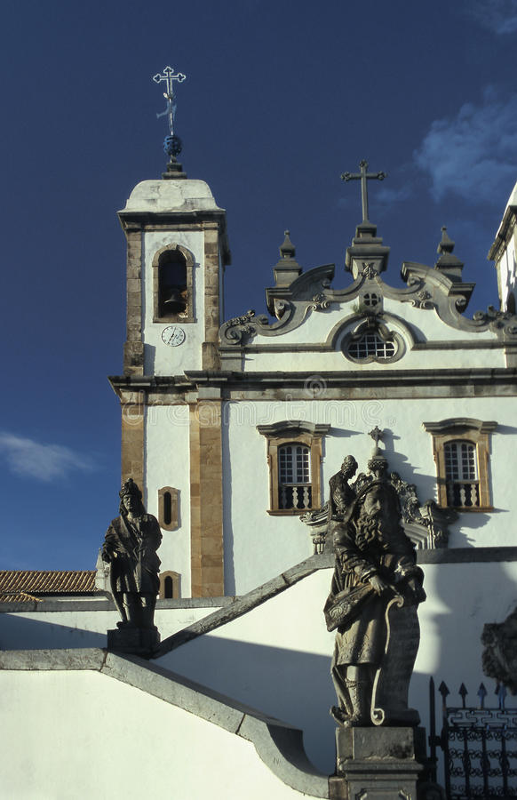 The church of Bom Jesus do Matozinhos in Congonhas, state of Min. As Gerais, Brazil. A masterpiece of the Minas Baroque architecture, it is surrounded by soap stock photos