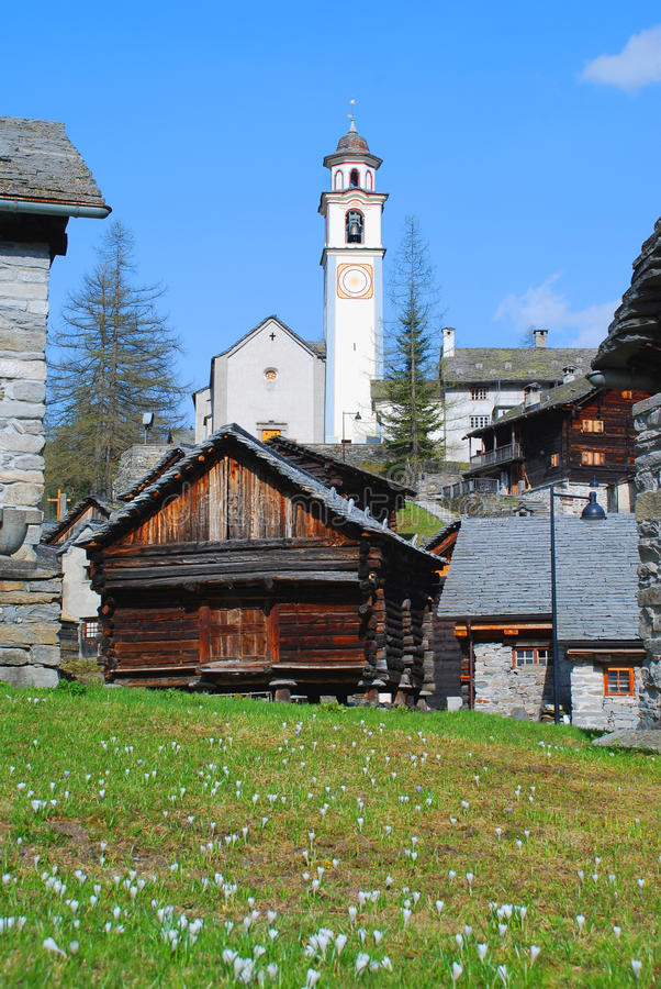 Church of Bosco Gurin villages. Bosco Gurin retains the charm of one of the most charming mountain villages of Switzerland. The picturesque town, founded in 1253 royalty free stock photo