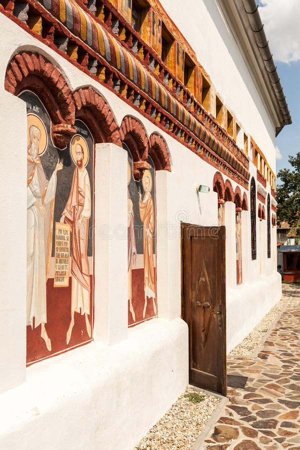 Church Brancoveanu - exterior wall. Also called Brancoveanu Upper Church, the church is located on Mihai viteazul street in Ocna Sibiu and is dedicated to St stock photo