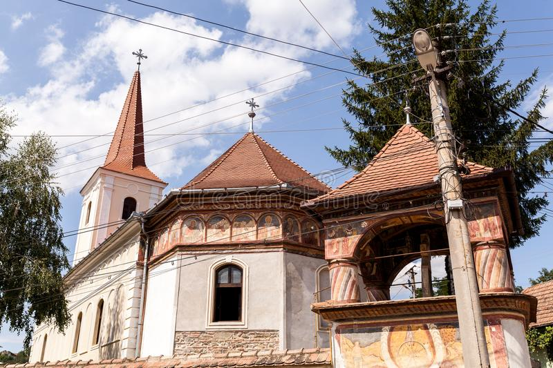 Church Brancoveanu in Ocna Sibiului. Also called Brancoveanu Upper Church, the church is located on Mihai viteazul street in Ocna Sibiu and is dedicated to St royalty free stock images