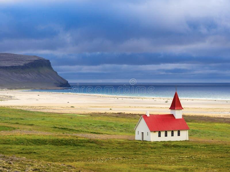Church of Breiðavík royalty free stock photo