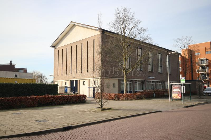 Church buiding of the reformed community at the Beijerinckstraat in Nieuwerkerk aan den Ijssel named Hervormd Centrum in the Nethe royalty free stock images