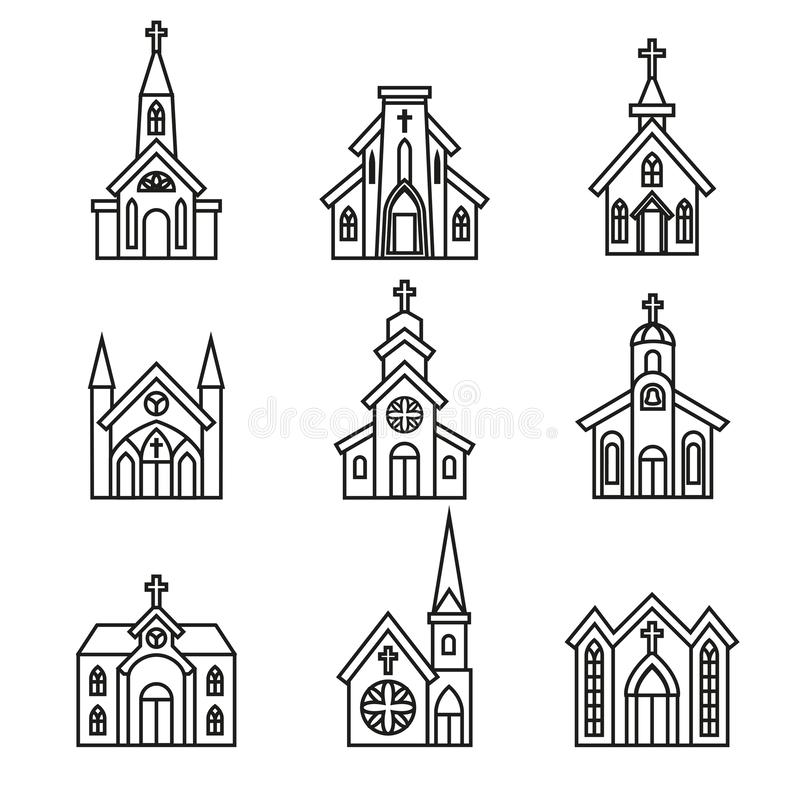 Free Church Building, Christian Church. Christian Chapel, Cathedral, Parish Icon. Stock Photography - 161134142