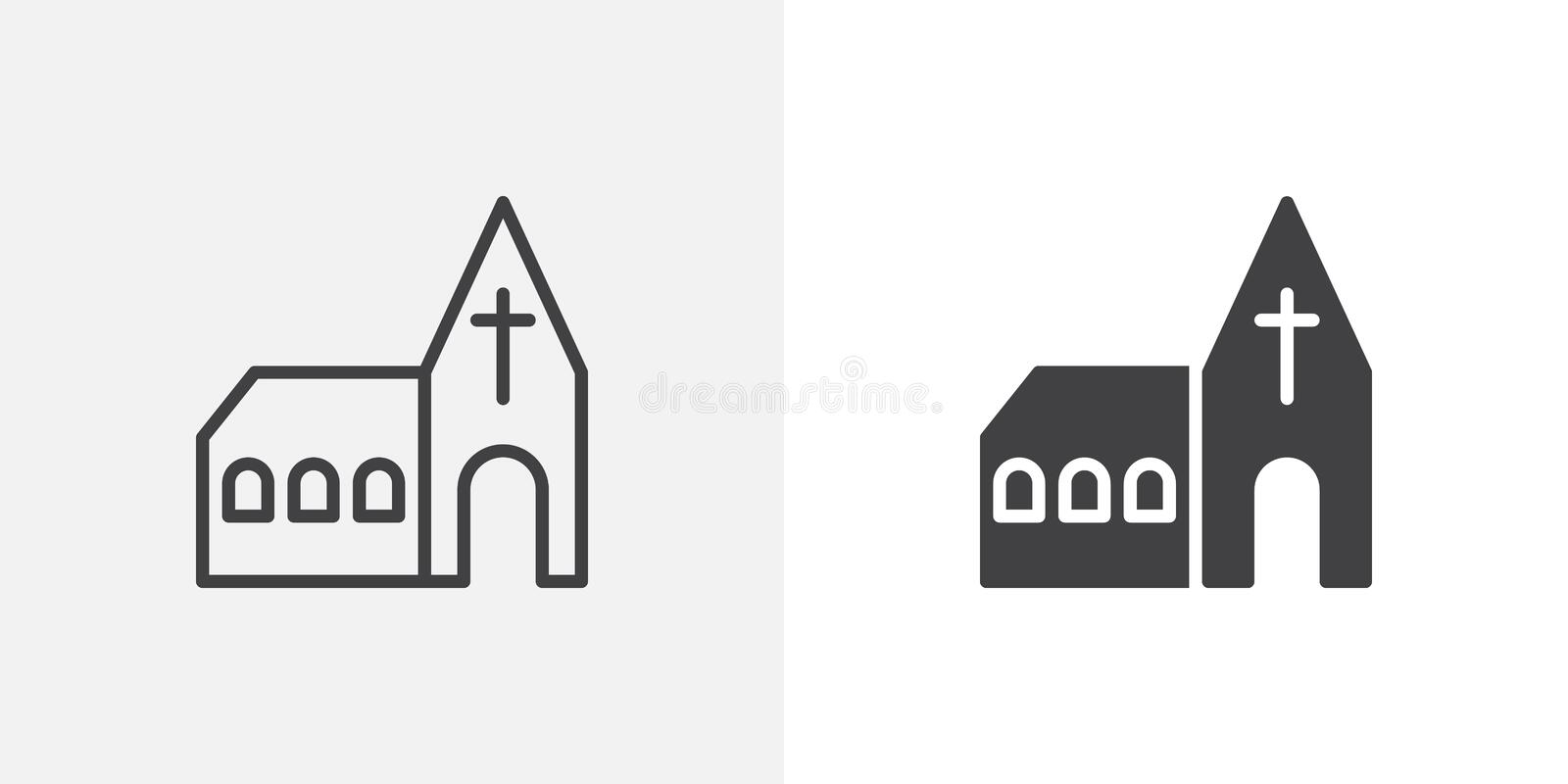 Church building icon. Line and glyph version, outline and filled vector sign. Monastery linear and full pictogram. Symbol, logo illustration. Different style royalty free illustration