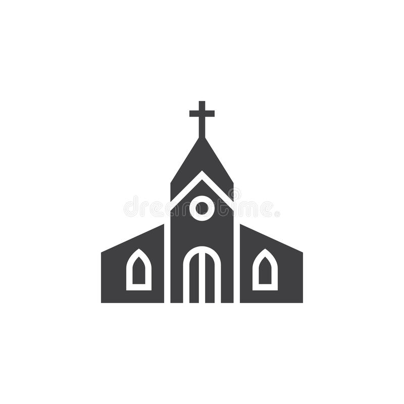 Church building icon vector, filled flat sign, solid pictogram i. Solated on white, logo illustration stock illustration