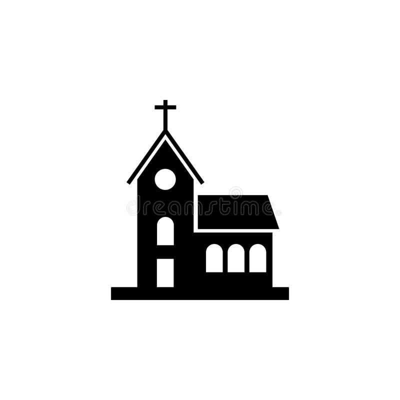 Church building icon. On white background stock illustration