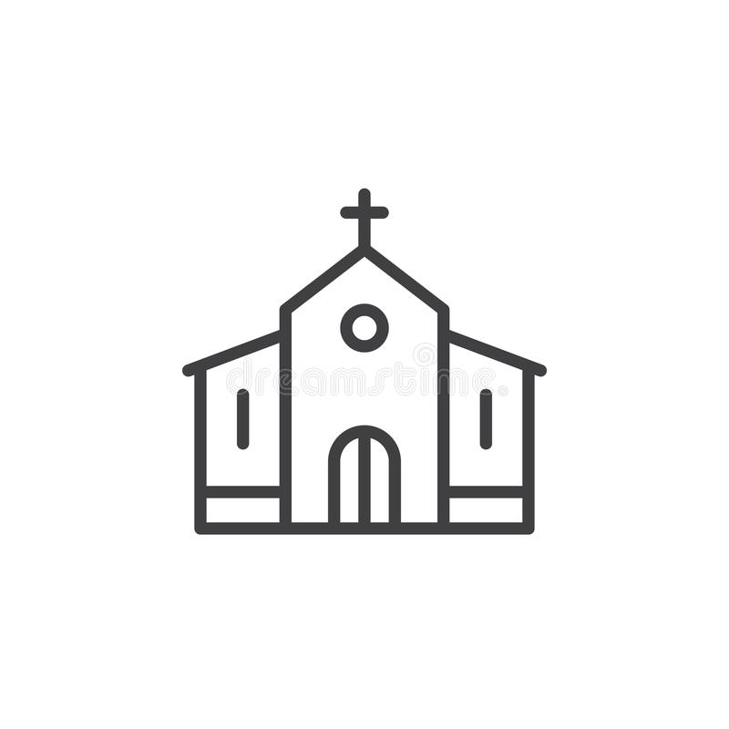 Church building line icon vector illustration