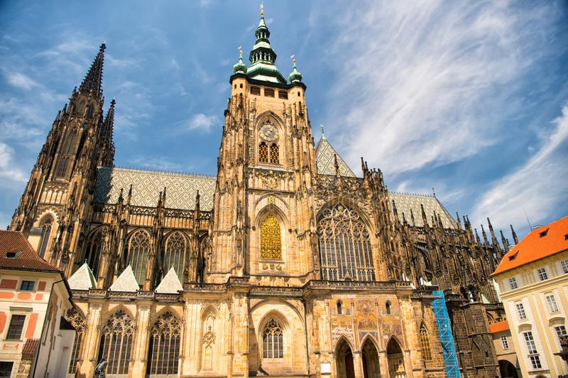 Church building in prague, czech republic. St.vitus cathedral on cloudy blue sky. Monument of gothic architecture and design. Vaca. Tion and wanderlust concept stock images