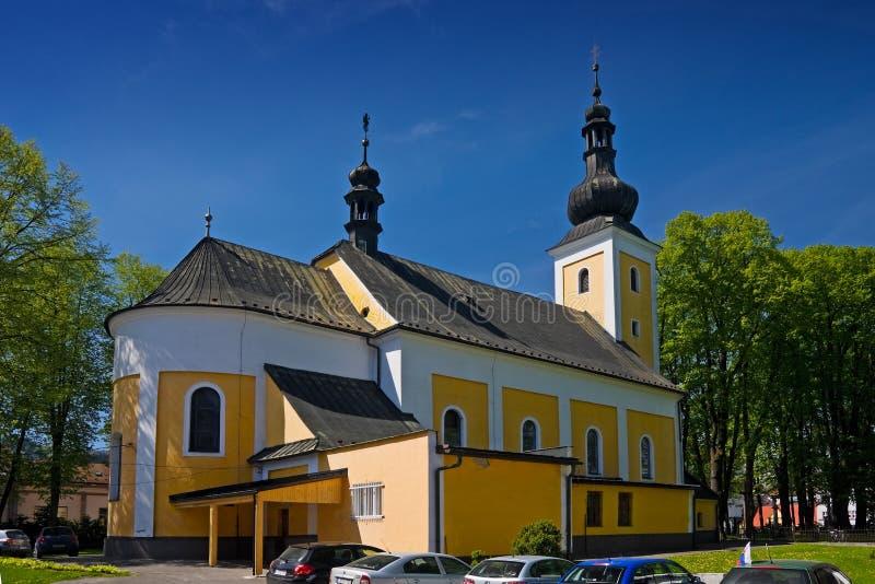Church in Cadca. Pedestrian zone, Slovakia royalty free stock photography