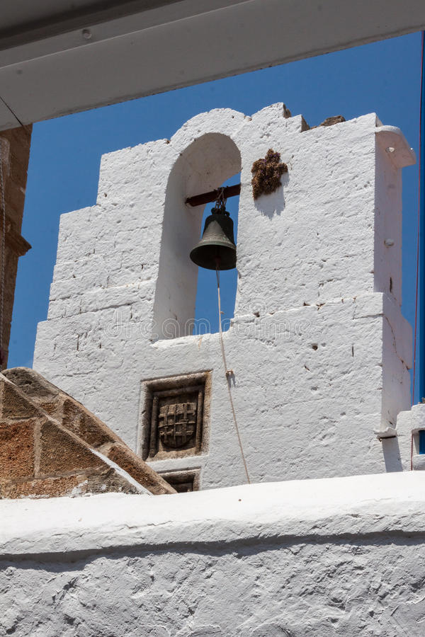 Church Campanary Lindos Rhodes Greece. The church bell tower in Lindos, Rhodes Island, Greece stock images