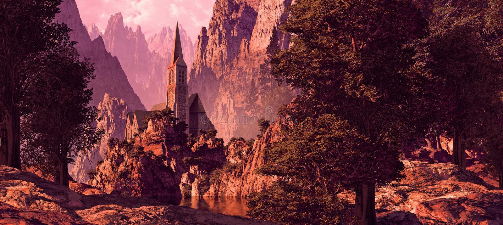 Download Church In The Canyon stock illustration. Illustration of gothic - 14328860