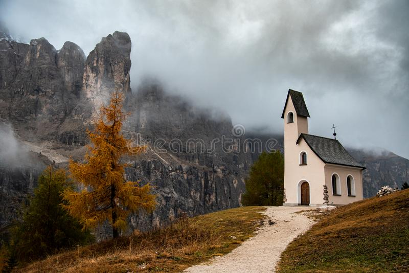 The church of cappella di san Maurizio at the Passo gardena pass in the Dolomites of the South Tyrol in Italy royalty free stock photography