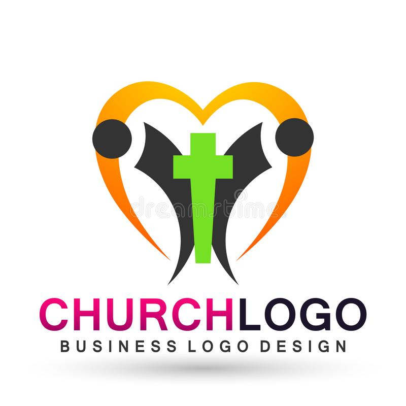 Church care globe people with heart logo icon cross love symbol on white background. Church care with globe people  heart cross love church union save protect vector illustration