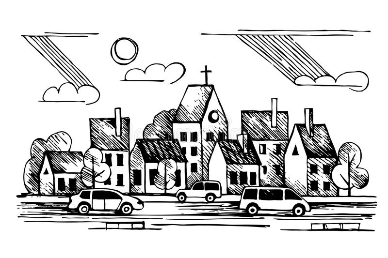 Church. Cars. Clouds.Vector hand drawn ink urban royalty free illustration