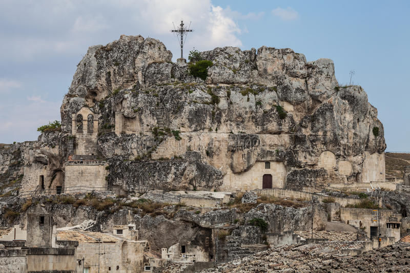 Church carved into the rock. Matera, Italy. The church of Santa Maria di Idris, also called Santa Maria de Idris or Madonna de Idris, is located in Matera, in royalty free stock images