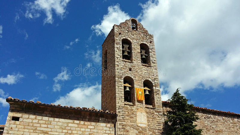 Church of Castellar de n'Hug. Bell tower of the parish church of Castellar de n'Hug in Catalonia, Spain royalty free stock images