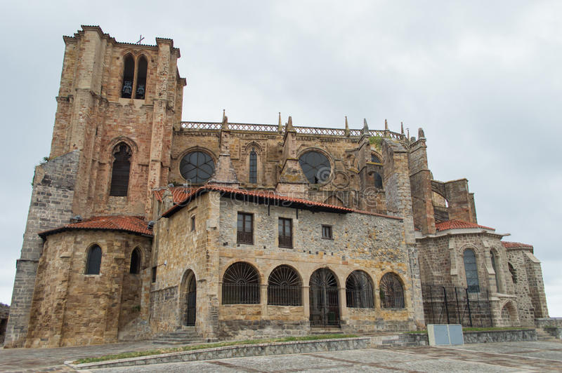 Church Of Castro Urdiales. Panoramic of Cathedral Castro Urdiales, Cantabria, Spain royalty free stock photo