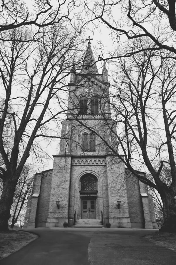 A lonely church in Finland. A church in the center of a small village called Uusikaupunki in the southwest coastal area of Finland royalty free stock image