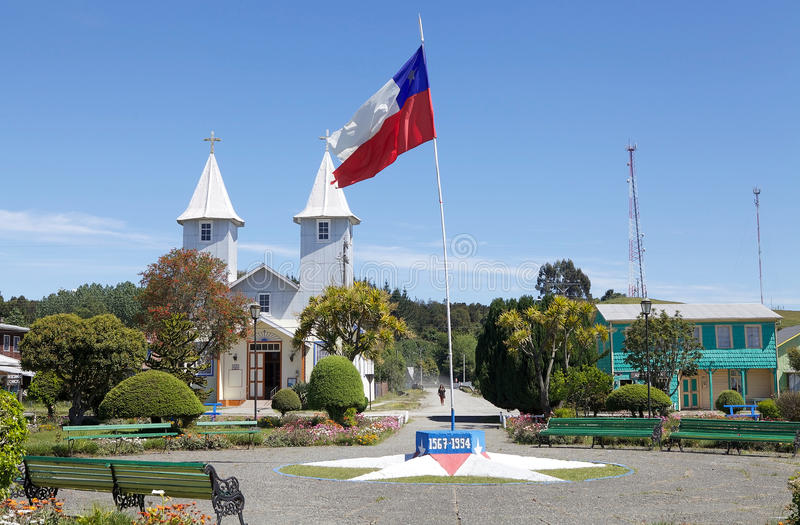 Church in Chacao village, Chiloe island, Chile stock photography