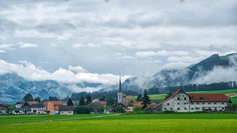 Church in Charmey village at Prealps in Gruyere Fribourg Switzerland. Church in Charmey village at Prealps mountains in Gruyere district, Canton Fribourg in stock photos