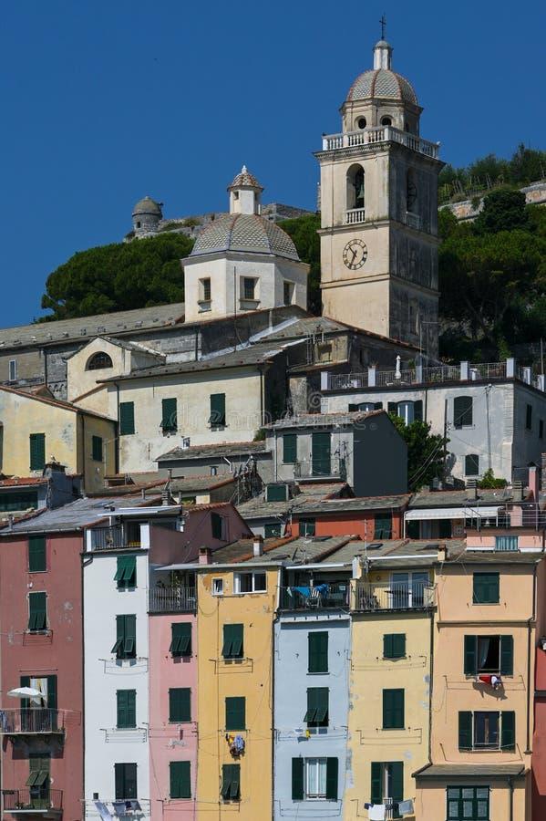 Church Chiesa di San Lorenzo and colorful houses in Porto Venere, a beautiful coast village on the gulf of La Spezia near the. Famous Cinque Terre stock photo