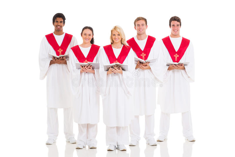 Church choir. Group church choir with hymnal on white background stock images