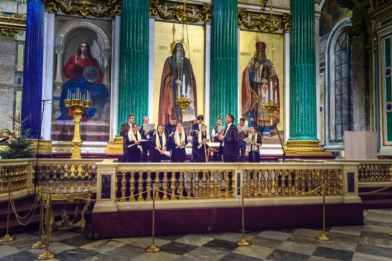 Church choir in Saint Isaac`s Cathedral or Isaakievskiy Sobor in Saint Petersburg. Russia. Saint Petersburg, Russia - January 6, 2018: Church choir in Saint royalty free stock image