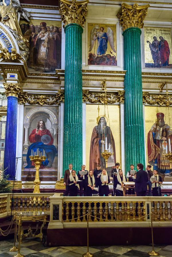 Church choir in Saint Isaac`s Cathedral or Isaakievskiy Sobor in Saint Petersburg. Russia. Saint Petersburg, Russia - January 6, 2018: Church choir in Saint stock photography