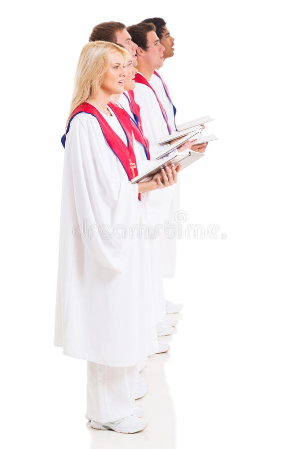 Church choir singers. Group of church choir singers with hymnal on white background stock images